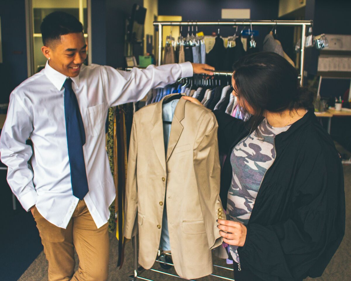 helping student pick out interview outfit